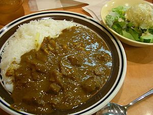 Beef cheese curry rice with salad by jetalone ...