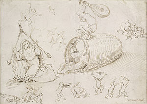 Hieronymus Bosch drawings - Image: Beehive and witches