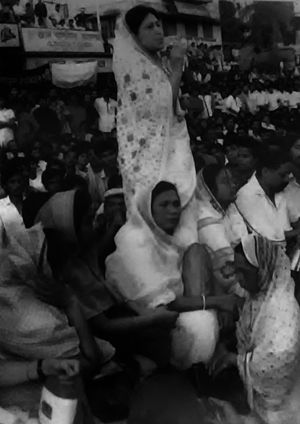 1990 Mass Uprising in Bangladesh - Begum Khaleda Zia addressing a sit in on 28 November 1989