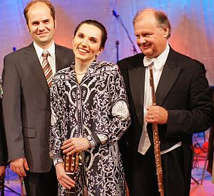 Béla Drahos - Bela Drahos with the Austrian guitarist Johanna Beisteiner (middle) and the Hungarian composer Robert Gulya (left) after a concert in Budapest in 2009.
