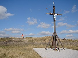 Sailors' Calvary wi remains o the Nazi coastal defences behind