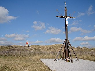 Berck - Sailors' Calvary with remains of the Nazi coastal defences behind
