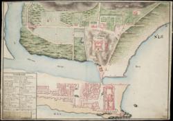 אלמינה ב-1799 - טירת אלמינה בתחתית התמונה מימין ופורט סן ז'אגו במרכזה