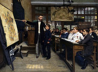 Revanchism - La Tache Noire by Albert Bettannier, painted in 1887 depicting French students being taught about the lost provinces of Alsace-Lorraine, taken by Germany in 1871.