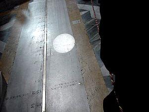 Francesco Bianchini - A gnomon in the south wall of the Santa Maria degli Angeli e dei Martiri projects the sun's image onto Bianchini's line every solar noon