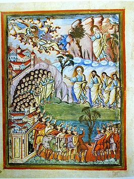 Voorpagina van het boek Deuteronomium in de Biblia de San Paolo