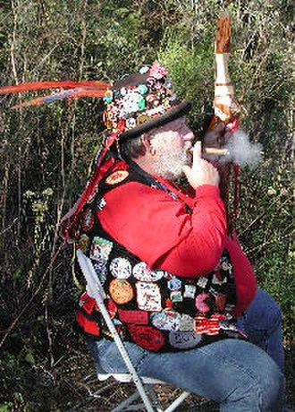 E Clampus Vitus - CEO of ECV Chapter .75 and founder of the Elephant Temperance Society exhibits a prime example of ECV regalia.