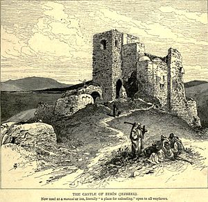 Jezreel (city) - Ruined tower at Jezreel, 1880s.