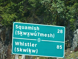 Glottal stop (letter) - Image: Bilingual road sign in squamish language 2