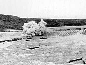 Black Eagle Dam is dynamited in 1908 to save Great Falls from the floodwave caused by the failure of Hauser Dam Black Eagle Dam 1908 DYK.jpg