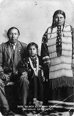 Black Elk - Black Elk, daughter Lucy Black Elk, and second wife Anna Brings White in their home in Manderson, South Dakota, about 1910