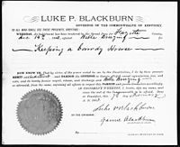 A document with a seal in the bottom left corner, signed by Blackburn, granting a pardon to an individual