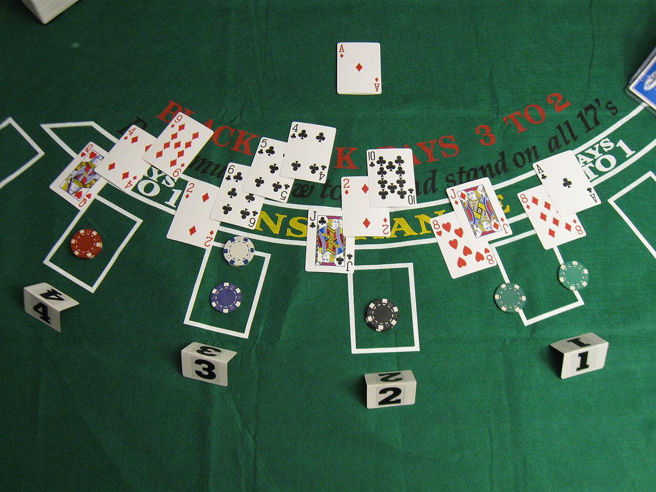 Blackjack table top view - File Blackjack Game 2 Jpg