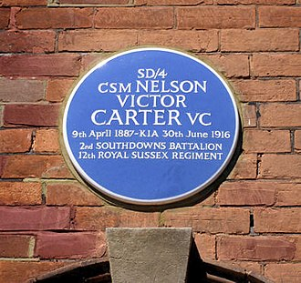 Nelson Victor Carter - Blue Plaque commemorating Carter on the north side of Greys Road, Eastbourne, Sussex