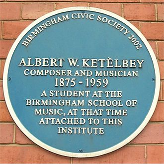 Birmingham and Midland Institute - Blue plaque to Albert Ketèlbey commemorating his time as a student of the Birmingham School of Music