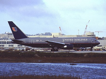 N612UA, the hijacked aircraft, in 1999. Boeing 767-222, United Airlines AN0188143.jpg