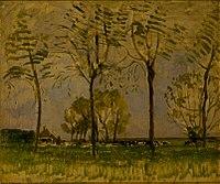 Boerderij met vier hoge bomen in de voorgrond I, Piet Mondrian, 1907.jpg