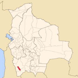 Location of the Enrique Baldivieso Province or San Agustín Municipality within Bolivia