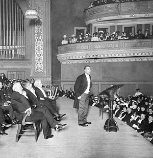 William Monroe Trotter - Booker T. Washington giving a speech at Carnegie Hall in New York City, 1909