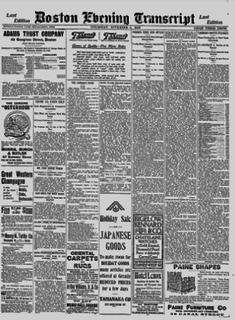 <i>Boston Evening Transcript</i> daily newspaper in Boston, Massachusetts