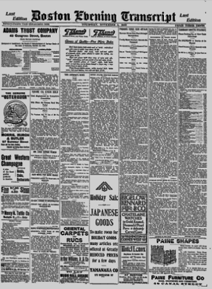 Boston Evening Transcript - Image: Boston Evening Transcript Nov 5, 1903