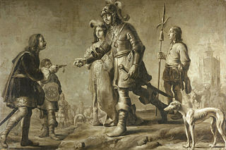 Boudewijn van Heusden (?-870) and his wife Sophia receiving homage from the legate of King Edmund