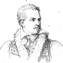 A line drawing of Boyer looking aside