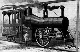 Boynton Bicycle Railroad - Steam locomotive of the Boynton Bicycle Railroad with a double-deck cab, with the fireman on the bottom and the engineer on the top