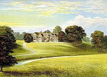 Coloured print of Bramall Hall atop a hill, framed by trees and set in open parkland. A driveway leads up to it on the left side. A stream runs along the bottom of the hill in the valley.