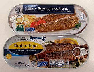 Brathering - Two cans of Brathering as sold in German supermarkets