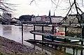 Bremen 1984 - Blick von der Werderstrasse über die Deutsche Gesellschaft zur Rettung Schiffbrüchiger, über die Weser in Richtung Bremen Mitte.jpg
