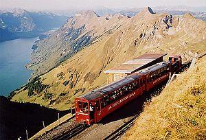 Brienz Rothorn Railway - Diesel train in the summit station