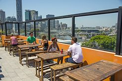 Brisbane City YHA's rooftop enjoys views over the Brisbane River.