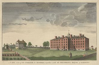 University Hall (Brown University) - Image: Brown University 1792 engraving