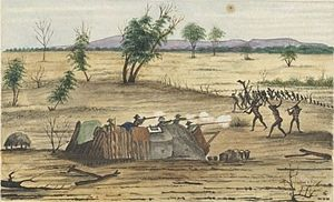Queensland - Fighting between Burke and Wills's supply party and Indigenous Australians at Bulla in 1861