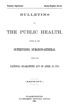 Public Health Reports - Image: Bulletins of the Public Health cover
