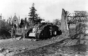 Tanks in World War I - A German-captured British tank in 1917