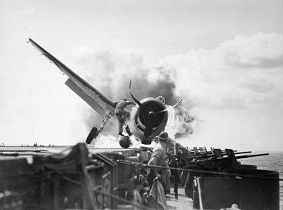 Burning Grumman F6F-3 Hellcat of VF-2 aboard USS Enterprise (CV-6) on 10 November 1943 (80-G-205473).jpg