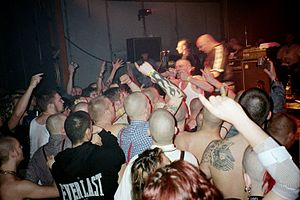 Skinhead - British punk rock band The Business performs in Berlin, Germany in 2003.