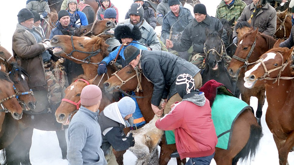 Buzkashi or Ulak tartysh players in Tajikstan