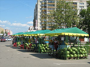 Melon - Watermelon vendors in Kstovo, Russia