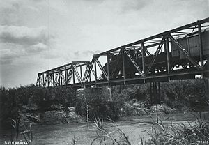 History of rail transport in Tanzania - A train passing over the river Ruvu