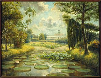 Bogor Botanical Gardens - A painting of Buitenzorg Paleis by Max Fleischer in 1899.