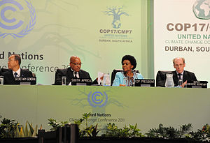 2011 United Nations Climate Change Conference - From left to right: UN Secretary-General Ban Ki-moon, President of South Africa Jacob Zuma, President of the Conference Maite Nkoana-Mashabane and UNFCC Deputy Executive Secretary Richard Kinley
