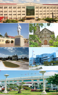 (frae top, left to right): University of Cabuyao, Cabuyao City Plaza, Kirk o Saunt Polycarp, Light Industry and Science Park of the Philippines, Malayan Colleges Laguna, Cabuyao City Hall