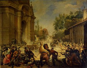 Revolutions of 1848 in the Italian states - Clashes between rebels and Austrians in Bologna.
