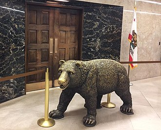 California State Capitol Museum - A statue of the California state animal, California grizzly bear, inside of the California State Capitol Museum