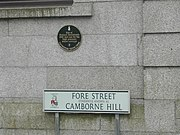 Camborne Hill street name and plaque commemorating Trevithick's steam carriage demonstration in 1801