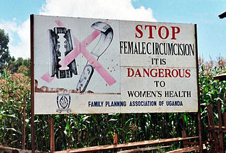 Campaign against female genital mutilation in Uganda Campaign road sign against female genital mutilation (cropped).jpg