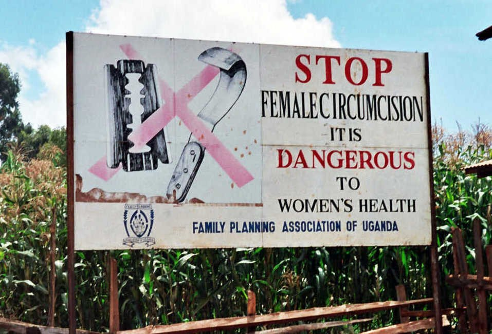 Campaign road sign against female genital mutilation (cropped)